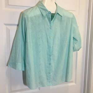 Croft & Barrow Mint Embroidered Blouse 2X